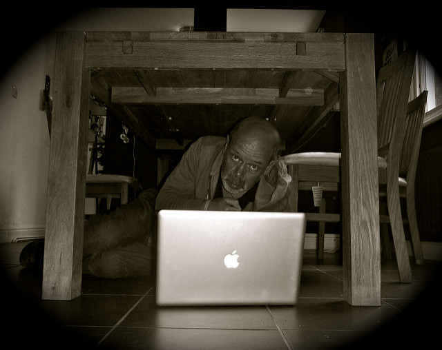 Man under desk disaster recovery