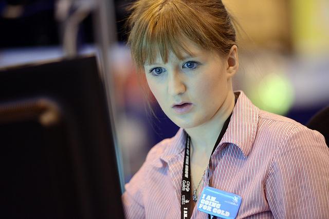 lady at computer screen